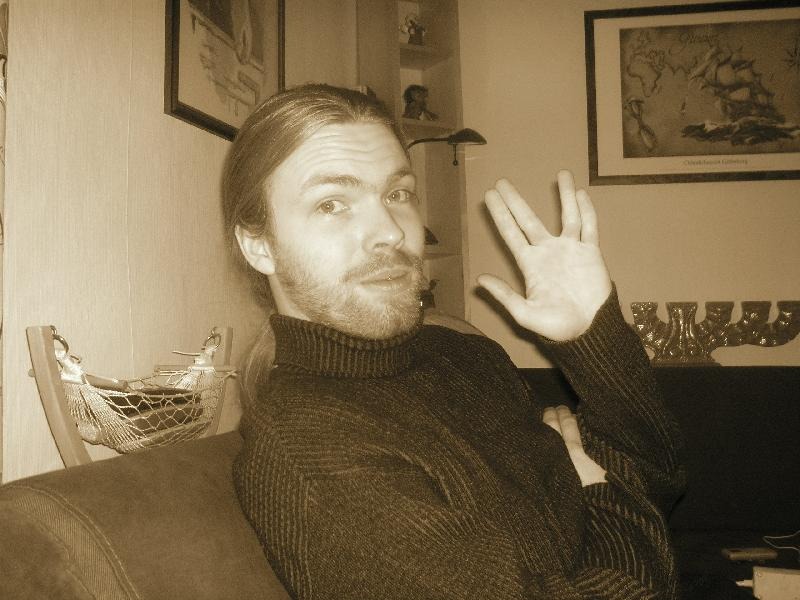 Andreas doing the Vulcan salute