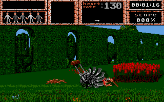 The garden of flesh eating roses. If you're not able to pass the flowers in time, a lawnmower shreds you to pieces!
