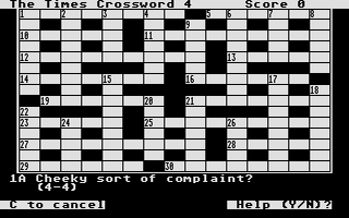 Thumbnail of other screenshot of Times Crossword Program, The Vol 1