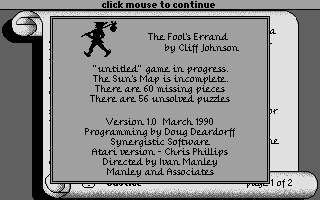 Screenshot of Fool's Errand, The