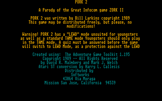 Thumbnail of other screenshot of Pork 2 - A Parody of Zork 2