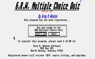 Thumbnail of other screenshot of G.R.W. Multiple Choice Quiz