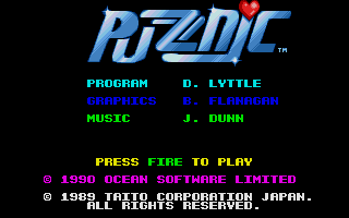 The intro screen