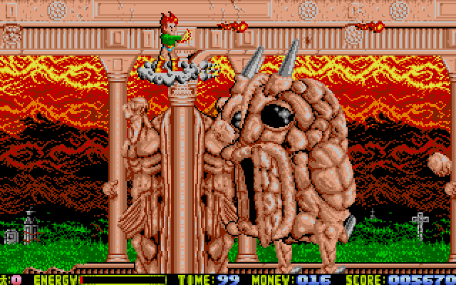 The boss stage of level 1. I love the art in this game. It is so weird and detailed.