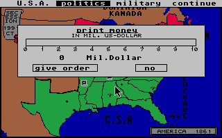 Screenshot of Secession - The Computer Game