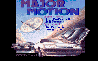 The title screen of Major Motion on the Amiga ... nice!!