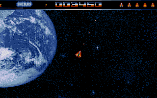 Asteroidia, a very good asteriods clone, and one of the few games Dave released as shareware!