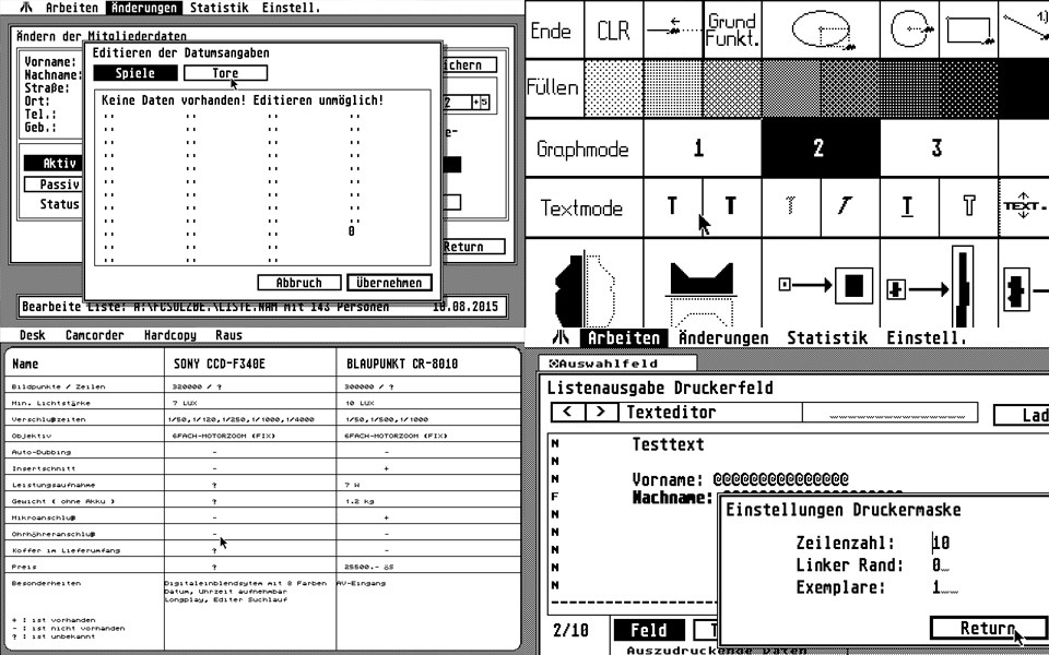 """Thomas also made some utilities on the ST. """"The most serious stuff I made was a management software for a local Football Club, that was actually in use for some time.  Hey! I invented the 'tab' logic for that… 5-10 years before it came to Windows ;-)"""""""