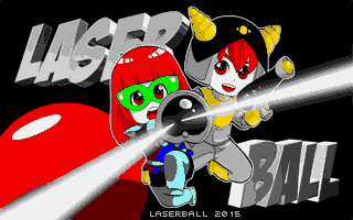 The title screen of the new version of Laserball. What a big difference!