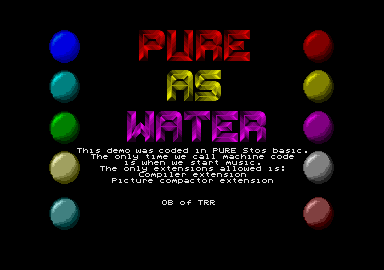 'Pure as Water', one of the many Atari ST demos made by a certain OB. I wonder who that is? ;-)