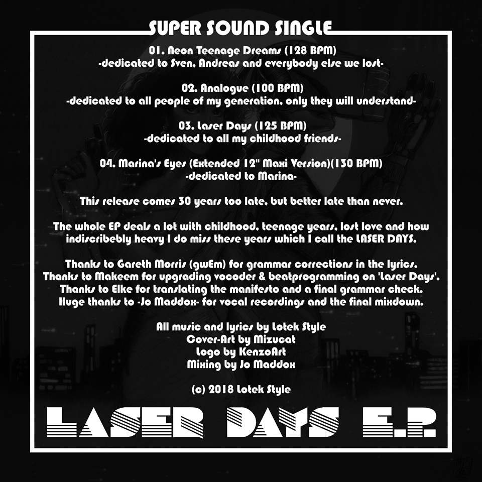 The backside of the Laser Days E.P.