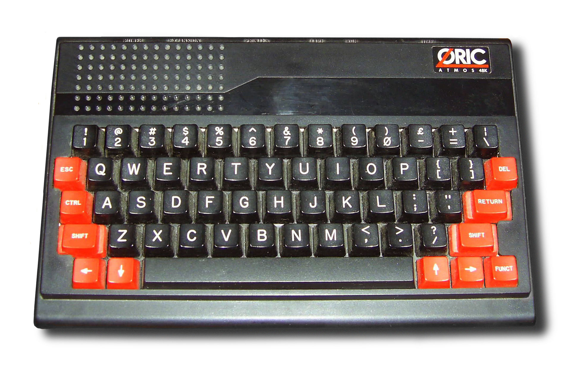 The Oric Atmos, one of the first computers Mathieu ever saw.