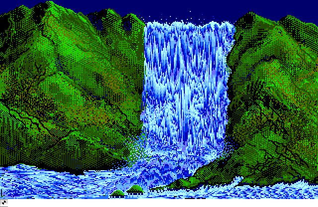 One of the most famous screens when the ST was introduced must be this animated waterfall created in Neochrome, programmed by the legendary Dave Staugus.