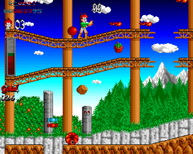 The Amiga version of Son Shu Shi featured beautiful gradient skies in the background.