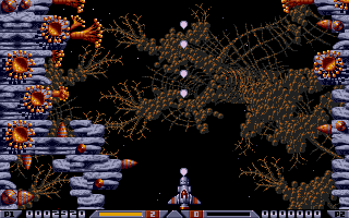 The idea of adding a big gun to Droid came from the megablast in the Bitmap Brothers classic Xenon 2.