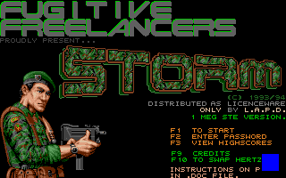 The title screen of the original STORM game.
