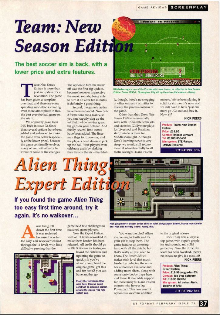The expert edition of Alien Thing got a nice 84%.