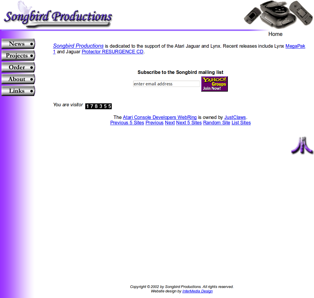 Screenshot of website Songbird productions