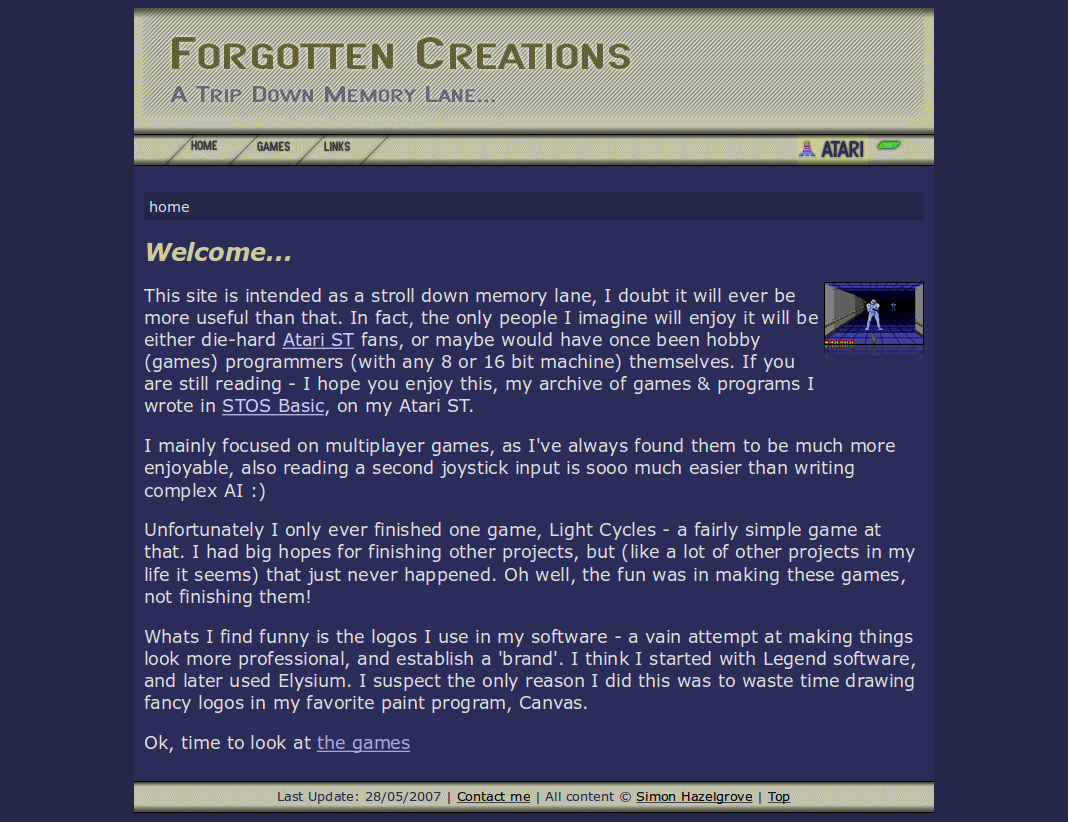Screenshot of the website Forgotten Creations