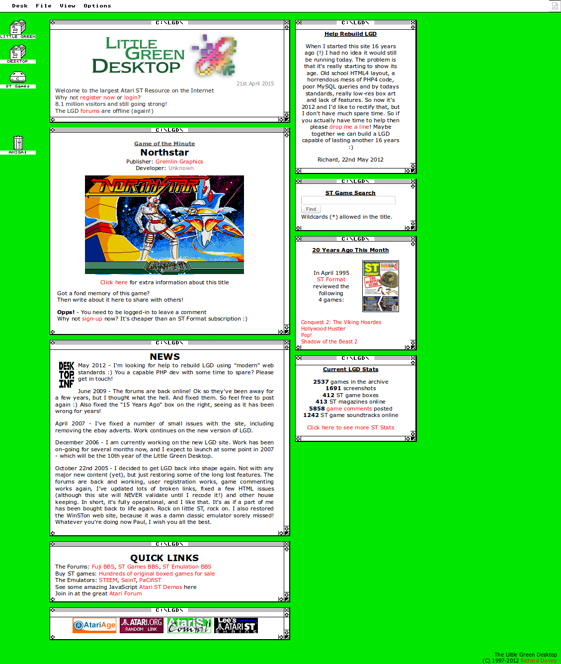 Screenshot of website The Little Green Desktop