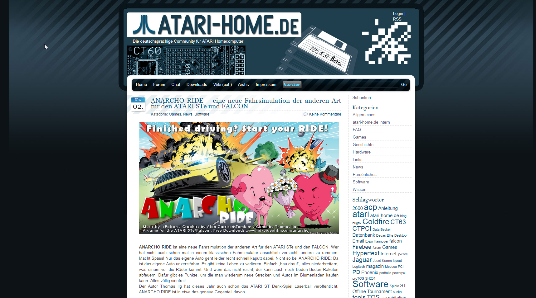 Screenshot of website Atari Home
