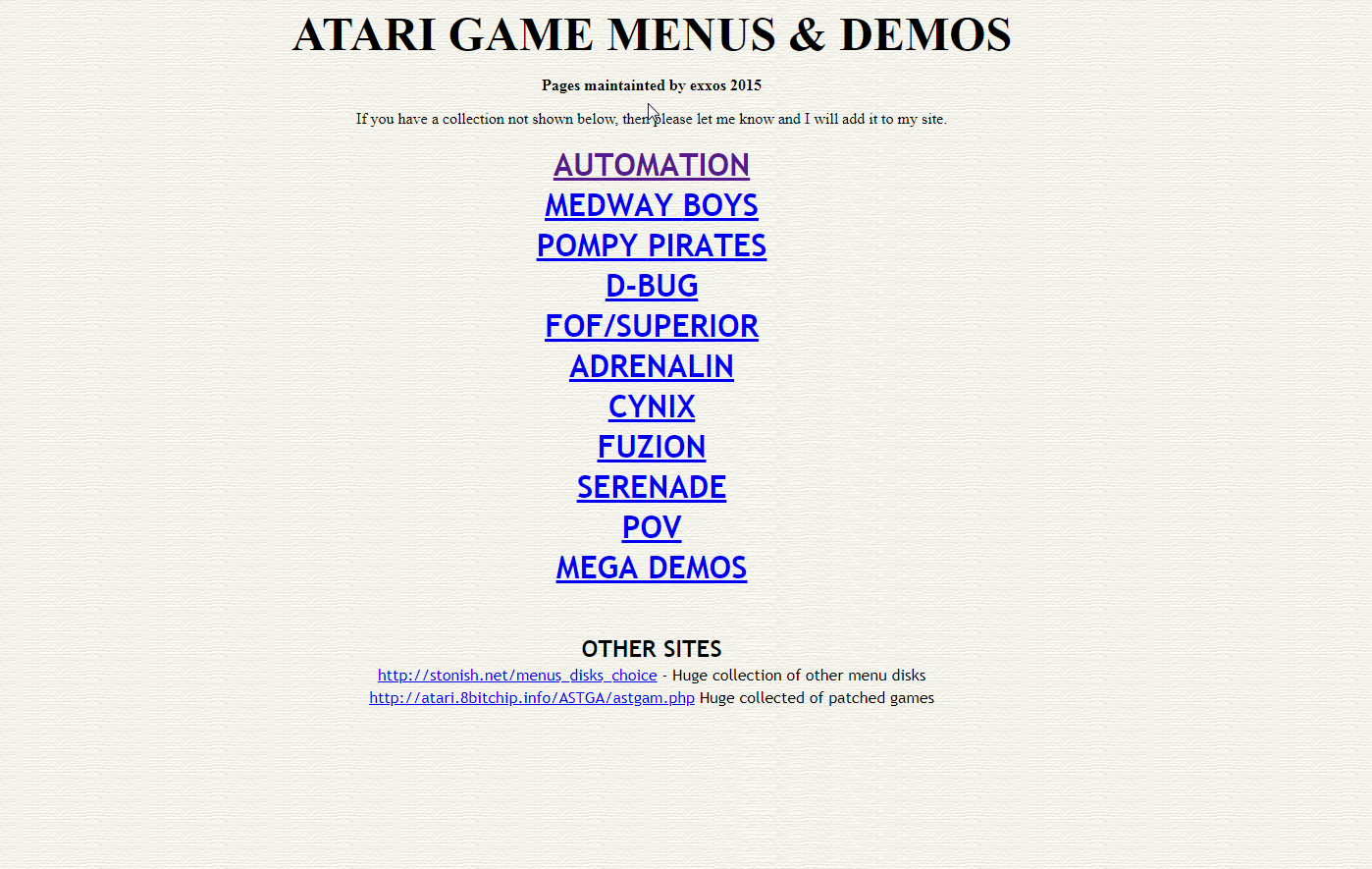 Screenshot of website Atari game menus and demos