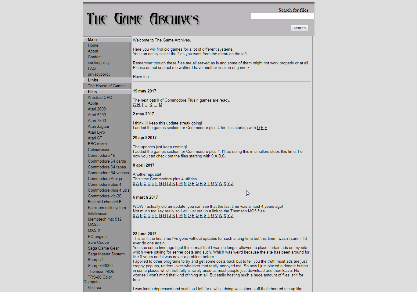Screenshot of website The Games Archives