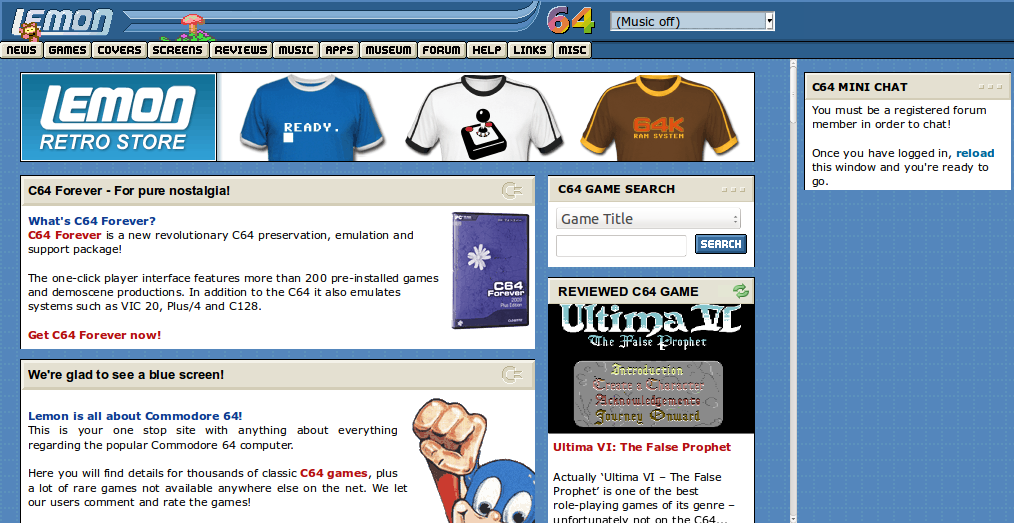 Screenshot of website Lemon64