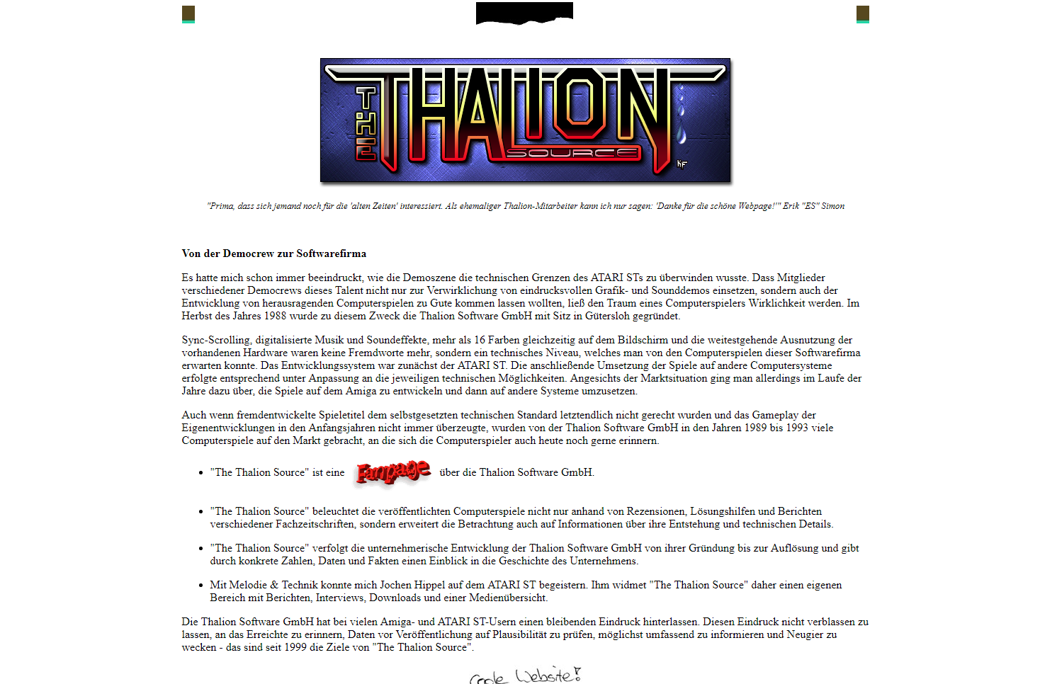 Screenshot of website The Thalion Source