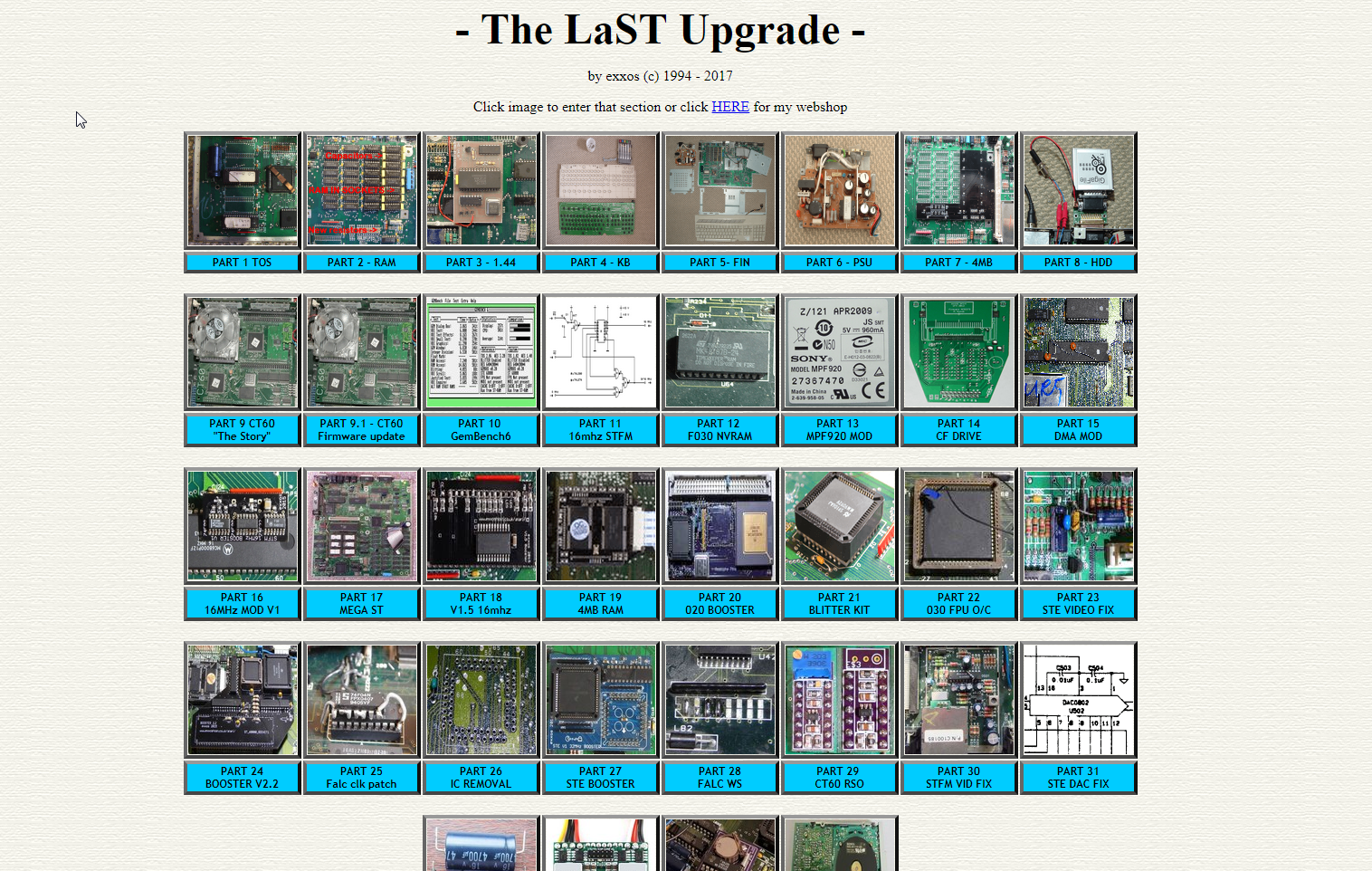Screenshot of website The LaST upgrade