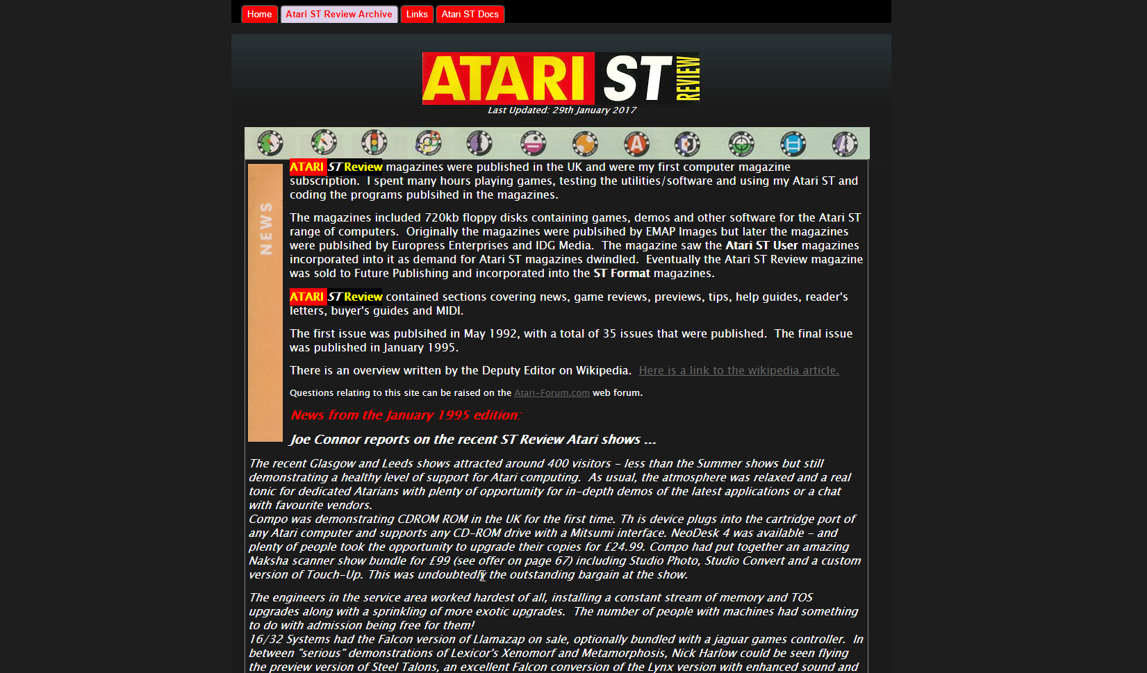 Screenshot of website Atari ST Review magazine archive
