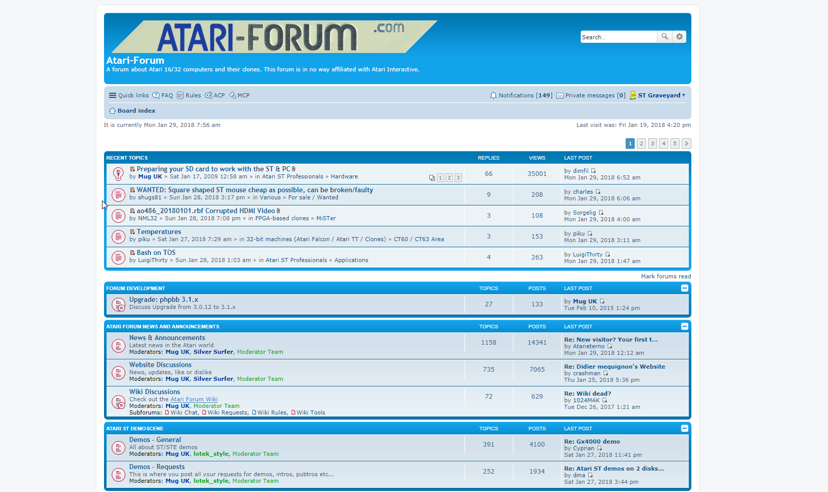 Screenshot of website Atari Forum