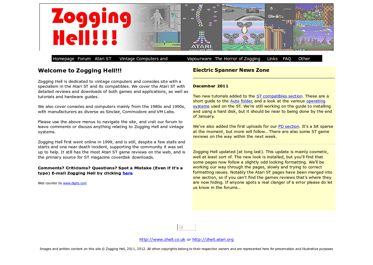 Screenshot of website Zogging Hell