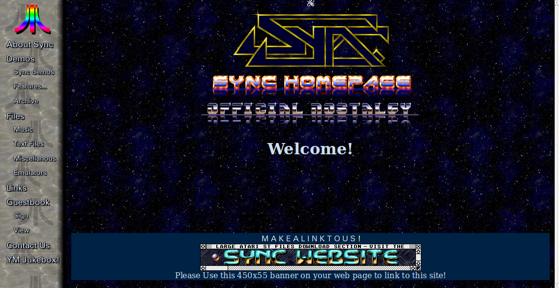 Screenshot of website SYNC