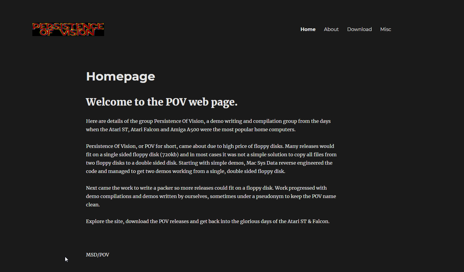 Screenshot of the website Persistence Of Vision