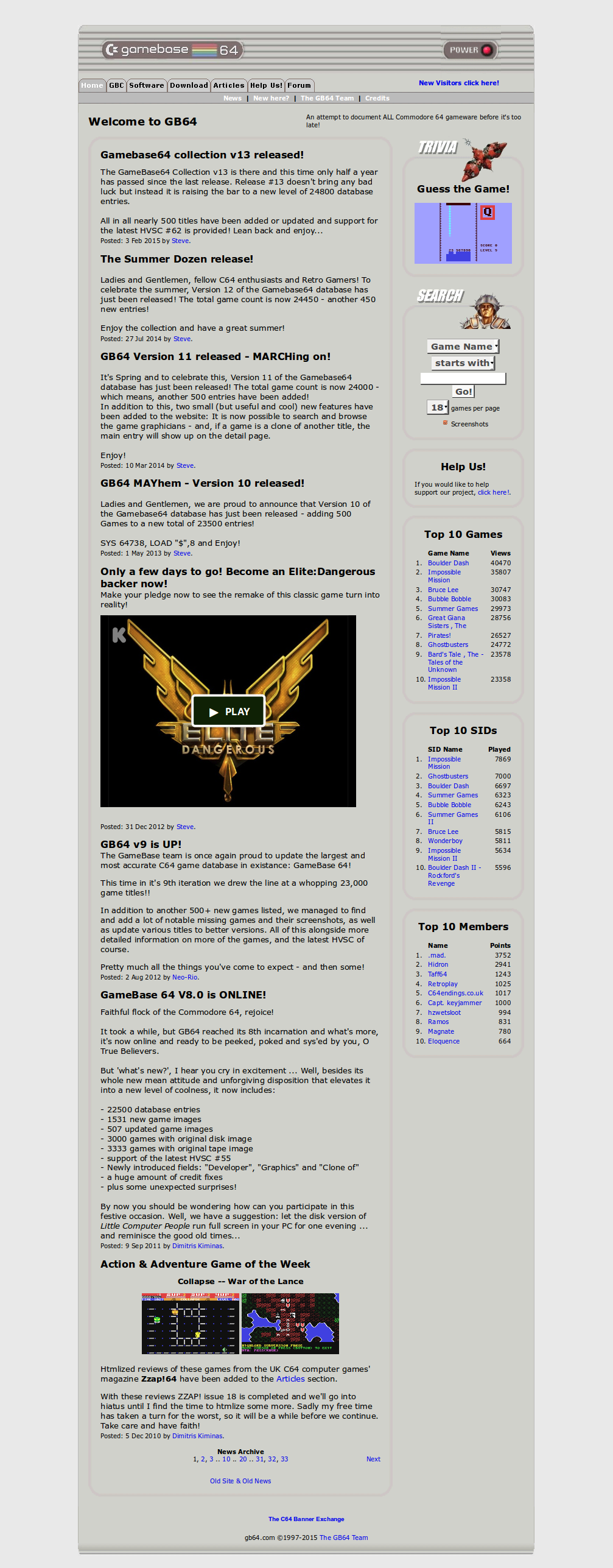 Screenshot of website Gamebase 64