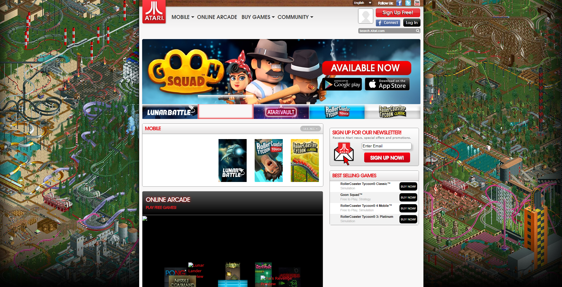 Screenshot of website Atari