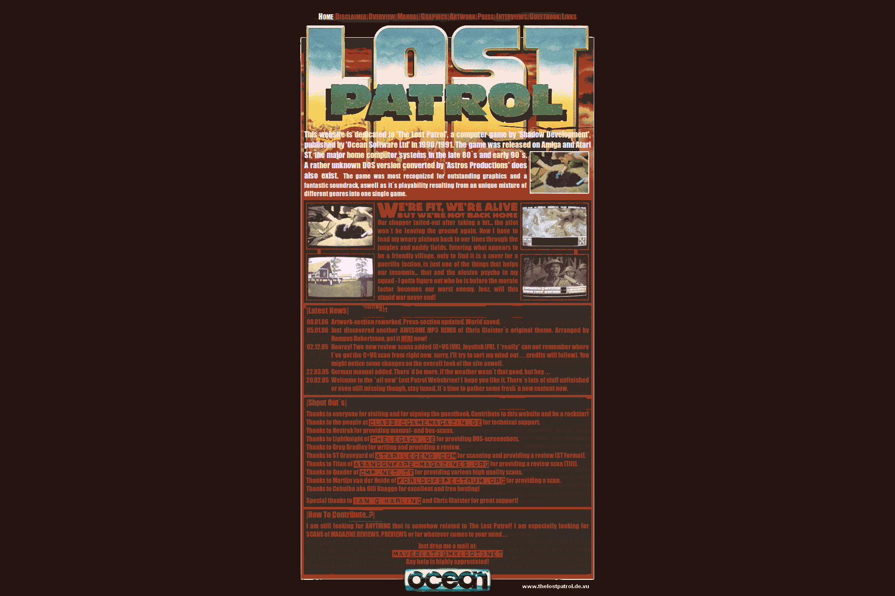 Screenshot of website The Lost Patrol