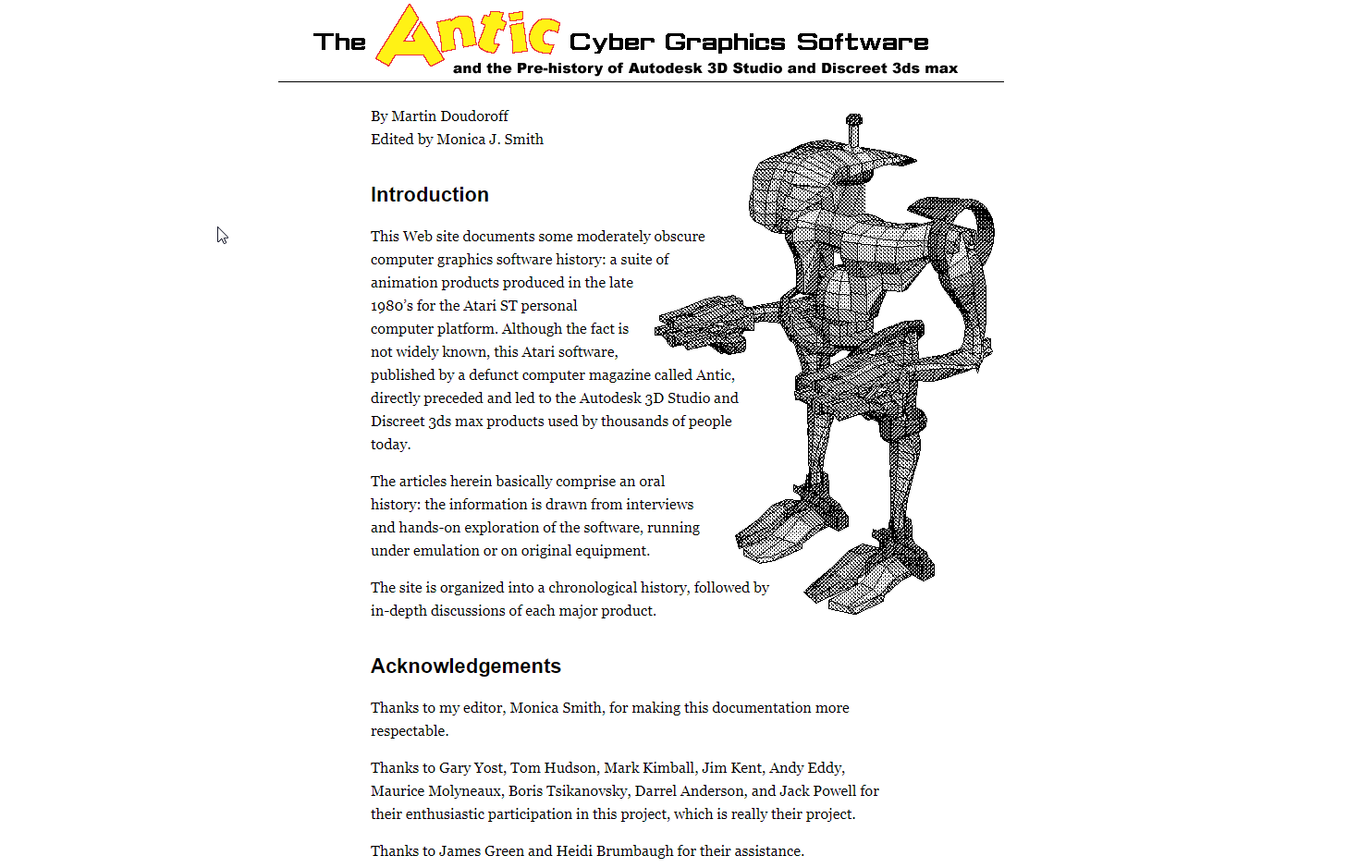 Screenshot of website The Antic Cyber Graphics Software