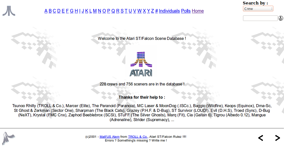 Screenshot of website Atari ST Scene Genealogy